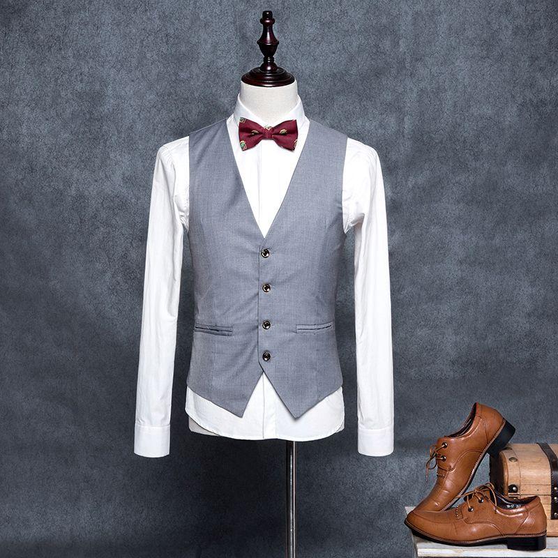 5b264d47da5 Wholesale- M-4XL High Quality Men s Formal Blazer Vests Slim Fit ...