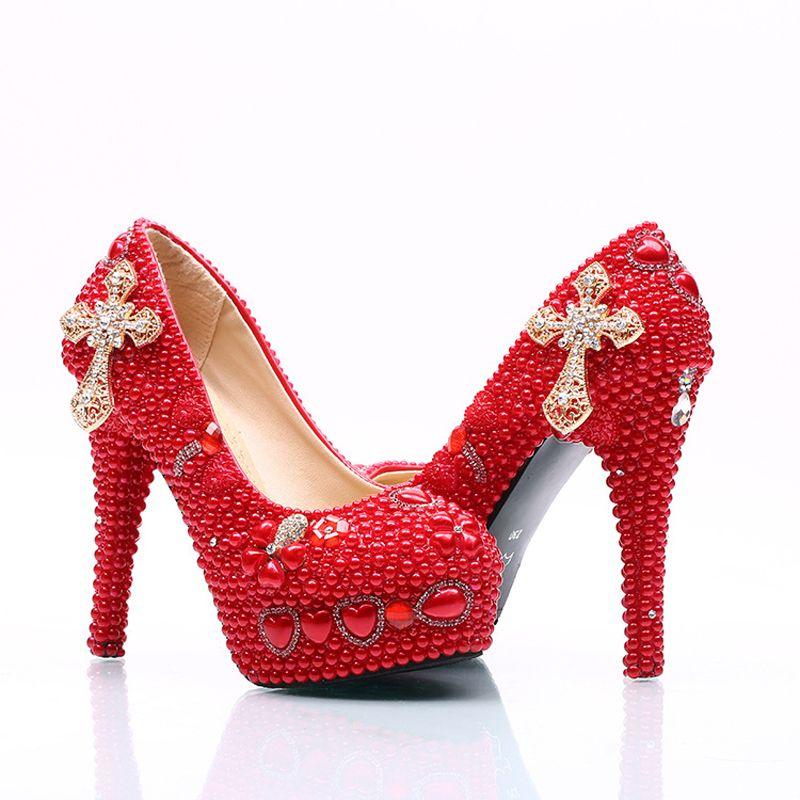 2017 Lady Kırmızı Yüksek Topuklu Gelin Düğün Ayakkabı ile Inci ve Rhinestone Çapraz Gelin Ayakkabıları anne Platformu Balo Pompaları