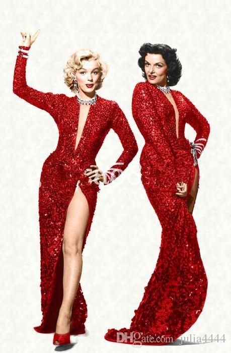 Marilyn Monroe Vintage Sparkly Wine Red Sequin Split Mermaid Evening Dresses 2019 Hot Fashion Sexy V-neck Full length Cheap Prom Gowns