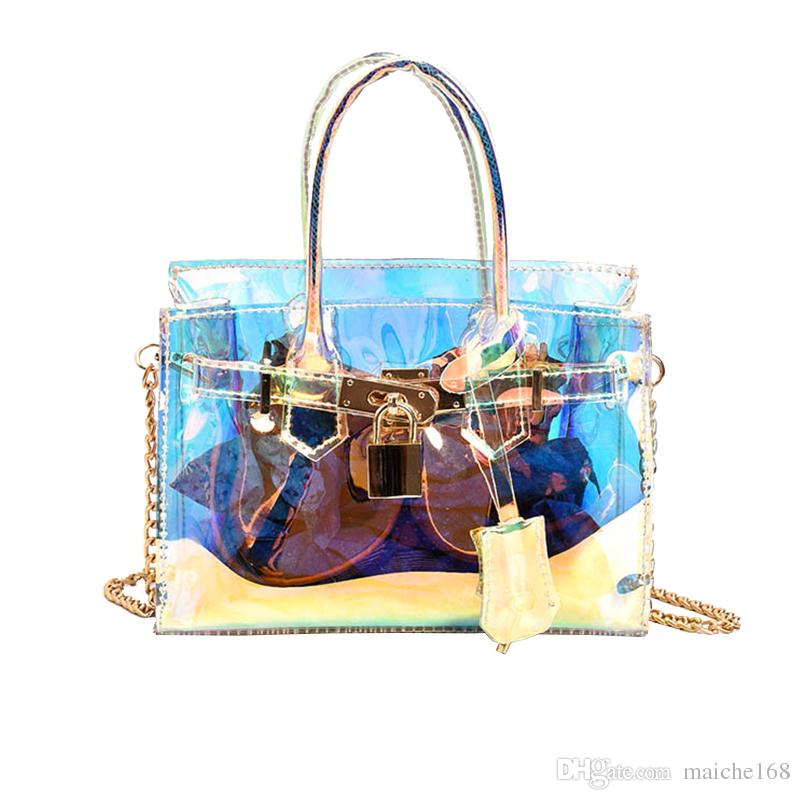 Transparent jelly bag 2017 new mini lock chain hand messenger bag