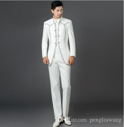 2b2210e4458 2019 White European Court 2017 New Arrival Men Suit Mens Suits Wedding  Groom Men Dress Suits Mens Clothing Brand Suit + Pant + Tie From  Pengliuwang