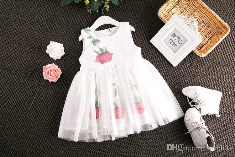 2017 Ragazze bambini stampa floreale Tulle Lace Bow Dress Summer Ruffles rosa e bianco principessa abiti da festa di colore 13082