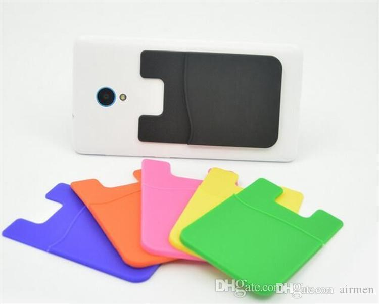 Universal Self Adhesive Silicone Wallet ID Credit Card Cash Pocket Holder Sticker Pouches For Smart Phones