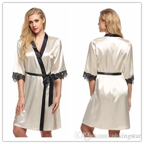 6109e500934 2019 Women S Kimono Pajamas Robe Bathrobe Sexy Lingerie Slik Sleepwear  Short Satin Lace Nighgowns Lady Bridesmaid Robes From Nbkingstar