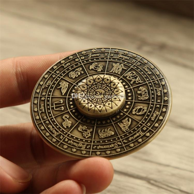 Newest Egyptian Zodiac UFO Hand Spinner Zinc Alloy Flying Saucer Fidget Spinner EDC Toys Decompression Finger Gyro Toys with CE Certificate