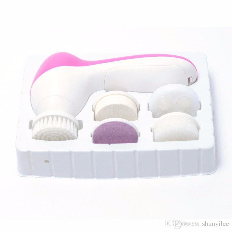 Deep Clean 5 en 1 multifonction électrique nettoyant pour le visage visage nettoyant spa soins de la peau scrubber brosse massager solvant cutané mort ZA1911