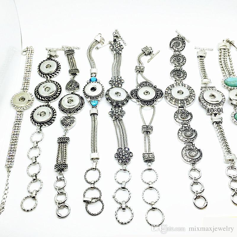 Commercio all'ingrosso 10 pezzi / lotto stili di miscelazione delle donne argento antico moda zenzero 18mm scatta pulsante charms bracciali fai da te snap gioielli regali
