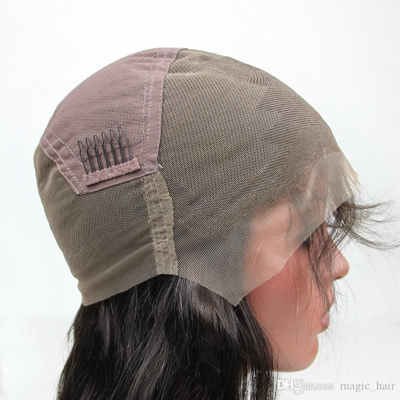 La perruque de dentelle de Glueless bon marché enferme la taille moyenne pour faire des perruques La couleur noire avec l'armure réglable ajustent la haute qualité