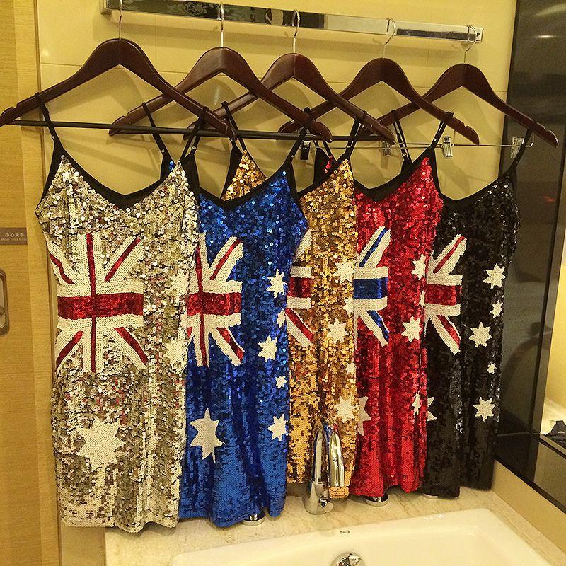 2019 Fashion Women Skirts Australian Flag Sequins Dress Sexy Nightclub Thin Body Party -5749