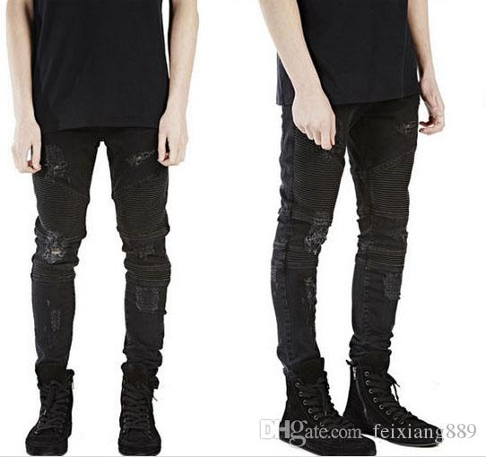 All'ingrosso-rappresenti i pantaloni del progettista di abbigliamento slp blu / nero ha distrutto il denim sottile degli uomini jeans diritti skinny del motociclista dei jeans strappati 28-40