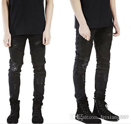 Atacado-representam roupas designer de calça slp azul / preto destruído mens slim denim motociclista reta jeans skinny homens jeans rasgados 28-40