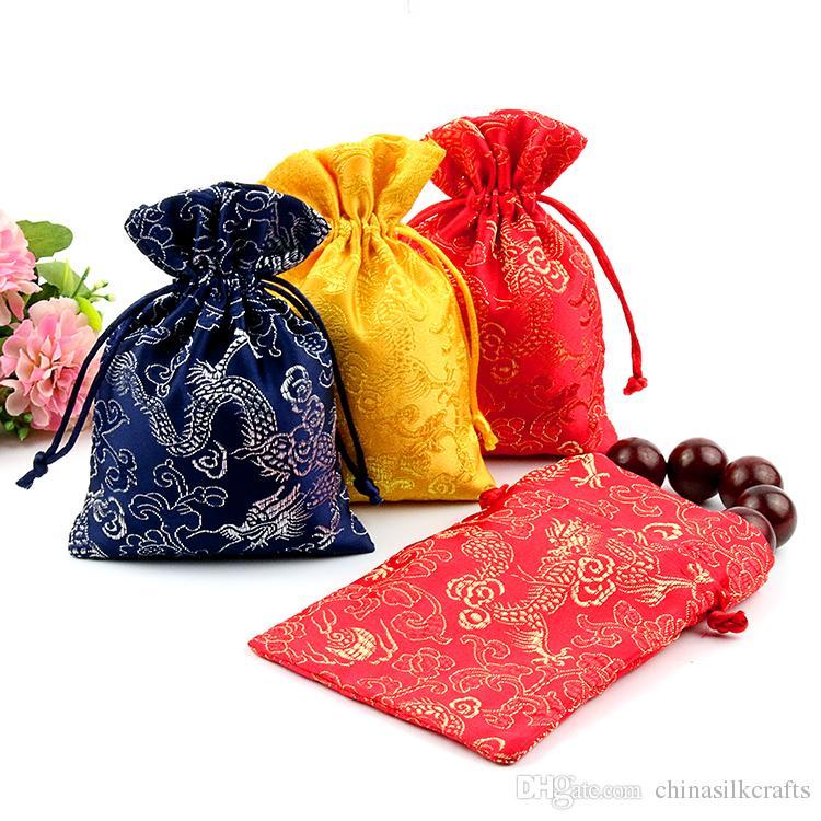 Super Cheap Thin Dragon Small Gift Bag Drawstring Silk Brocade Jewelry  RO33