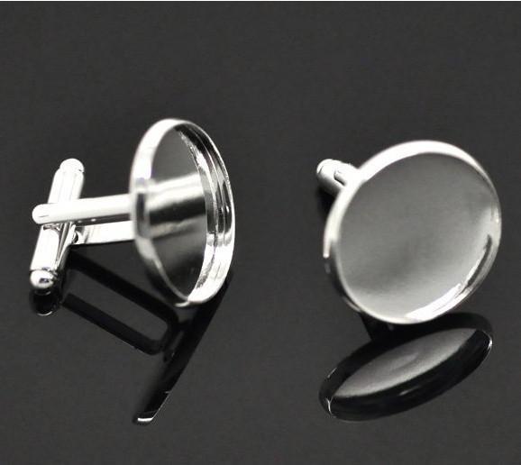 Livraison gratuite, haute qualité de 8 mm rondes boutons de manchette plaqués or argent blanc blanc k / base trouvé bijoux