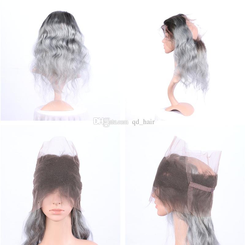 Ombre предварительно сорвал 360 кружева фронтальная с пучками волос темный корень 1b серый тела волна уток наращивание волос с 360 кружева фронтальной