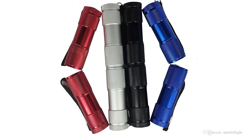 UV Ultra Violet Blacklight 9 LED Flashlight Torch Light Outdoors Mini LED Flashlight 300LM LED Camping Flashlight Torch Waterproof torch