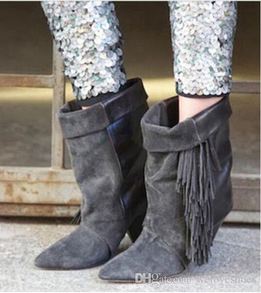 2017 новых женщин кисточкой сапоги шип пятки лодыжки пинетки точки ног замшевые пинетки платье обувь бахромой сапоги женщина