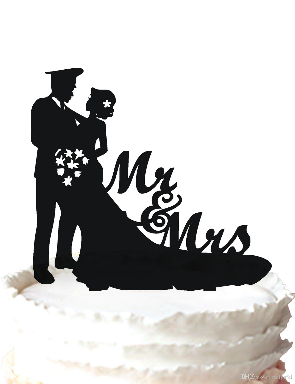 2018 Wedding Cake Toppers Funny Bride And Police Groom Silhouette MrMrsFor Option From Meijiafei 1821