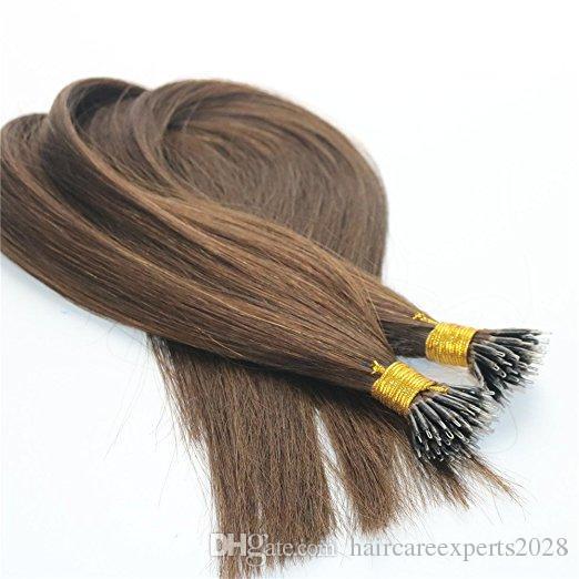 1 г/str 100 г кератина человеческих волос расширения с нано кольца #4 коричневый цвет нано кольцо петли Реми волос расширения