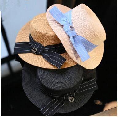 af074629cf7 Fashion Wide Brim Summer Beach Sun Hats for Women Bowknot Travel ...