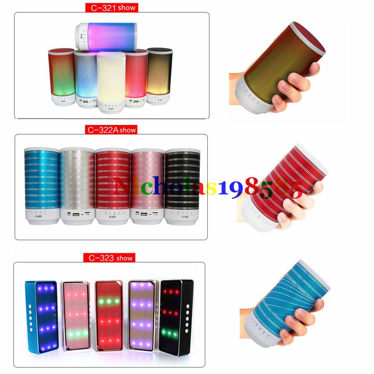 2018 Mini Protable Bluetooth Wireless Speaker C 321 322a 322b Musik Box 323 Handsfree Mic Super Bass Tf Card U Disk Mp3 Music Player Led Light Flash From