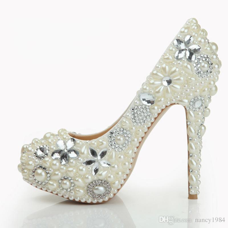 Pearl Shoes Bridal Wedding Party Shoes Nightclub Stiletto Heel Rhinestone Pearls High Heel Shoes Bridal Pumps Hand-made