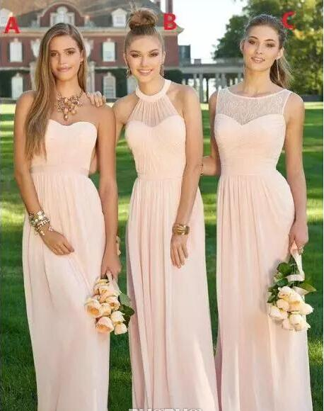 2017 peach long bridesmaid dresses tiers chiffon summer for Junior wedding guest dresses for summer