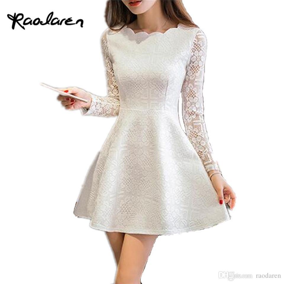 26adedd0a9d5 Raodaren primavera verano otoño encaje mujer vestido casual manga larga  vestidos de fiesta coreano vestido blanco negro rosa mini vestido