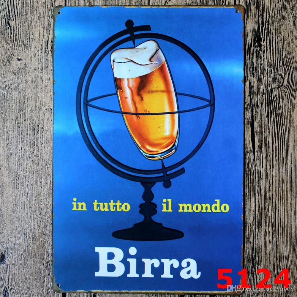 Beer Wine Birra Tin Poster Wall Decor Bar Home Vintage metal sign Craft Gift Art Iron painting Tin SignMixed designs