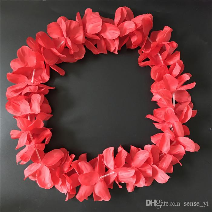 White Hawaiian Hula Leis Garland Necklace Flowers Wreaths Artificial Silk Wisteria Flowers Festive Wedding Party Suppliers