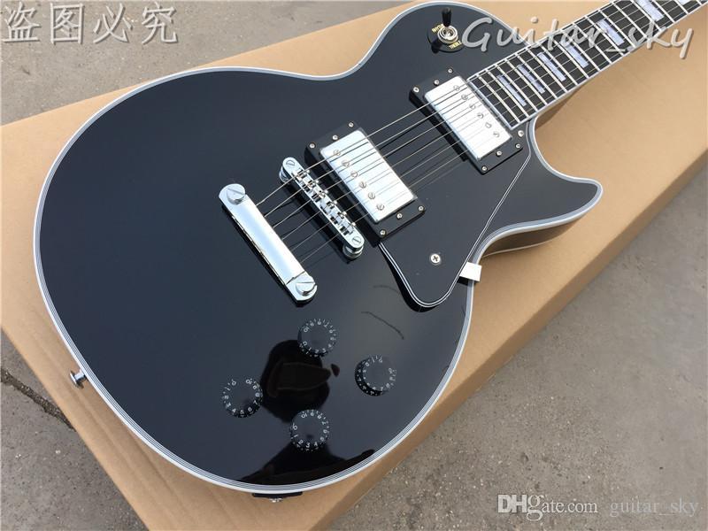 New Factory Personalizzato Shop Guitar Electric Glossy Black Finitura Bianco Ebano con tastiera di ebanità con attacchi terminali, con hardware cromato