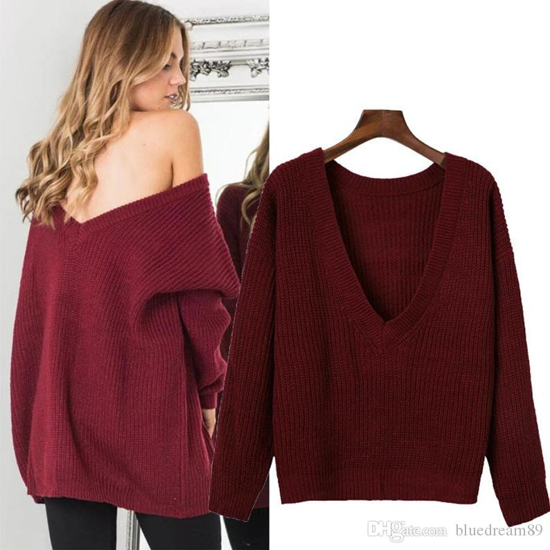 ad6ae10d0a7b8 New Woman Sweaters Solid Color Street Loose V Collar Plus Size Knitted  Sweater Halter Both Sides Wear Women Tops Sweaters For Winter UK 2019 From  ...