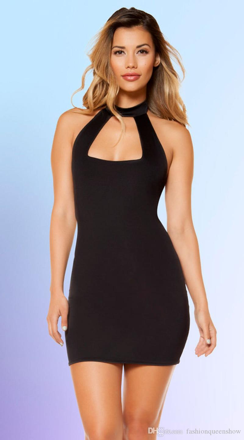 ec27e29eaef4 2019 Black Women Bandage Dress Sexy Cut Out Chest Bodycon Sleeveless Mini Dress  Hollow Out Back Party Vestido From Fashionqueenshow