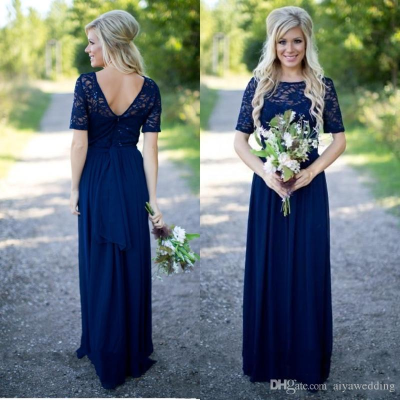 6d7c6098e79 2019 Country Bridesmaid Dresses Hot Long For Weddings Navy Blue Chiffon Short  Sleeves Illusion Lace Beads Floor Length Maid Honor Gowns Dusty Rose ...