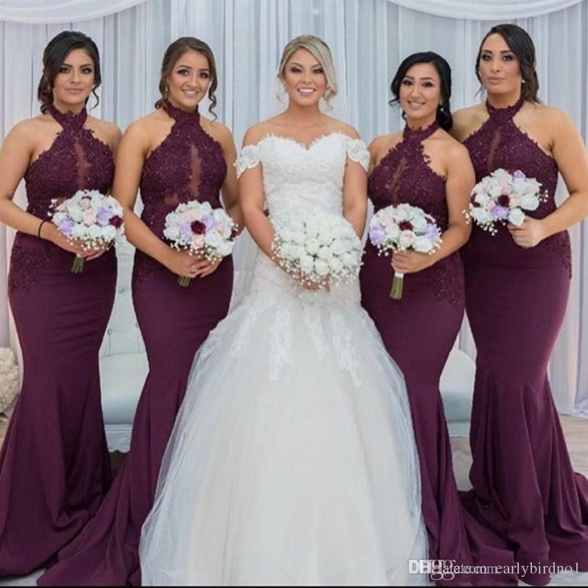 52d6d3604 Compre La Nueva Dama De Honor Púrpura Caliente De La Sirena De La Uva Viste  2018 El Cordón Árabe Elegante Del Cuello Del Halter Appliques Los Vestidos  De ...