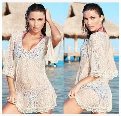 3cf1a80eae 2019 Women Beach Bikinis Cover Ups Lace Embroidery Swimwear Loose Blouses  Summer Sunscreen Swimsuit Shirts Crochet Hollow Sexy Resort Beachwear From  ...