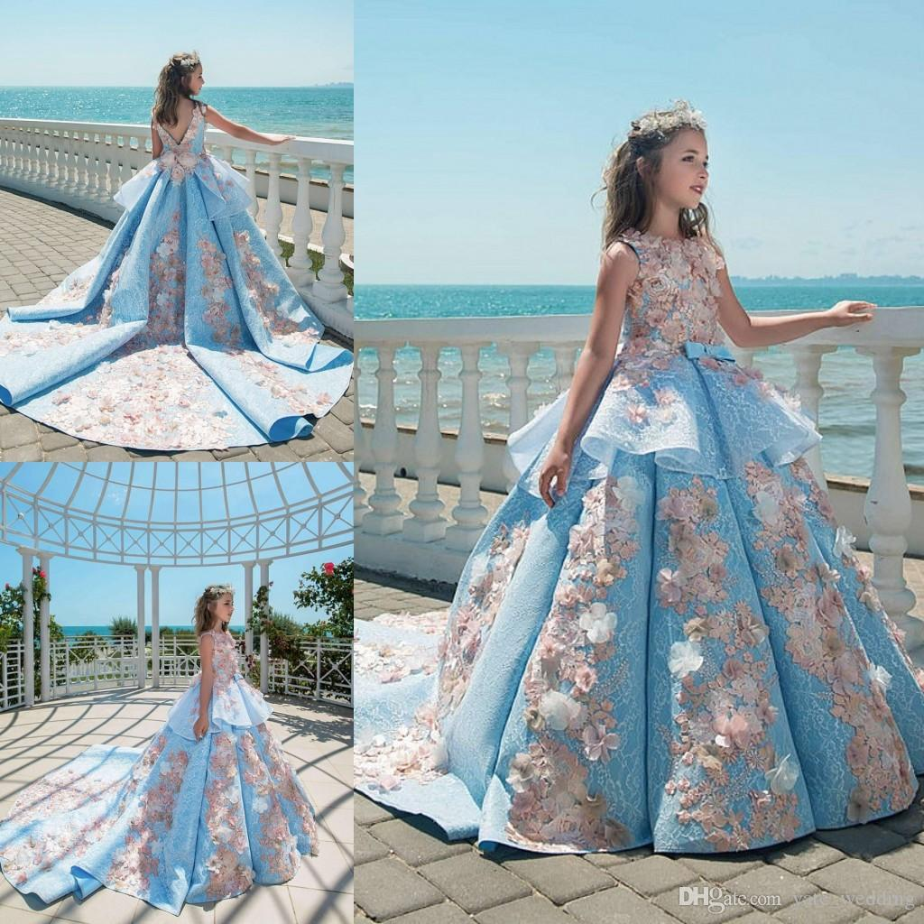 2018 Blue Lace Girls Pageant Dresses Ball Gown Children Birthday ...