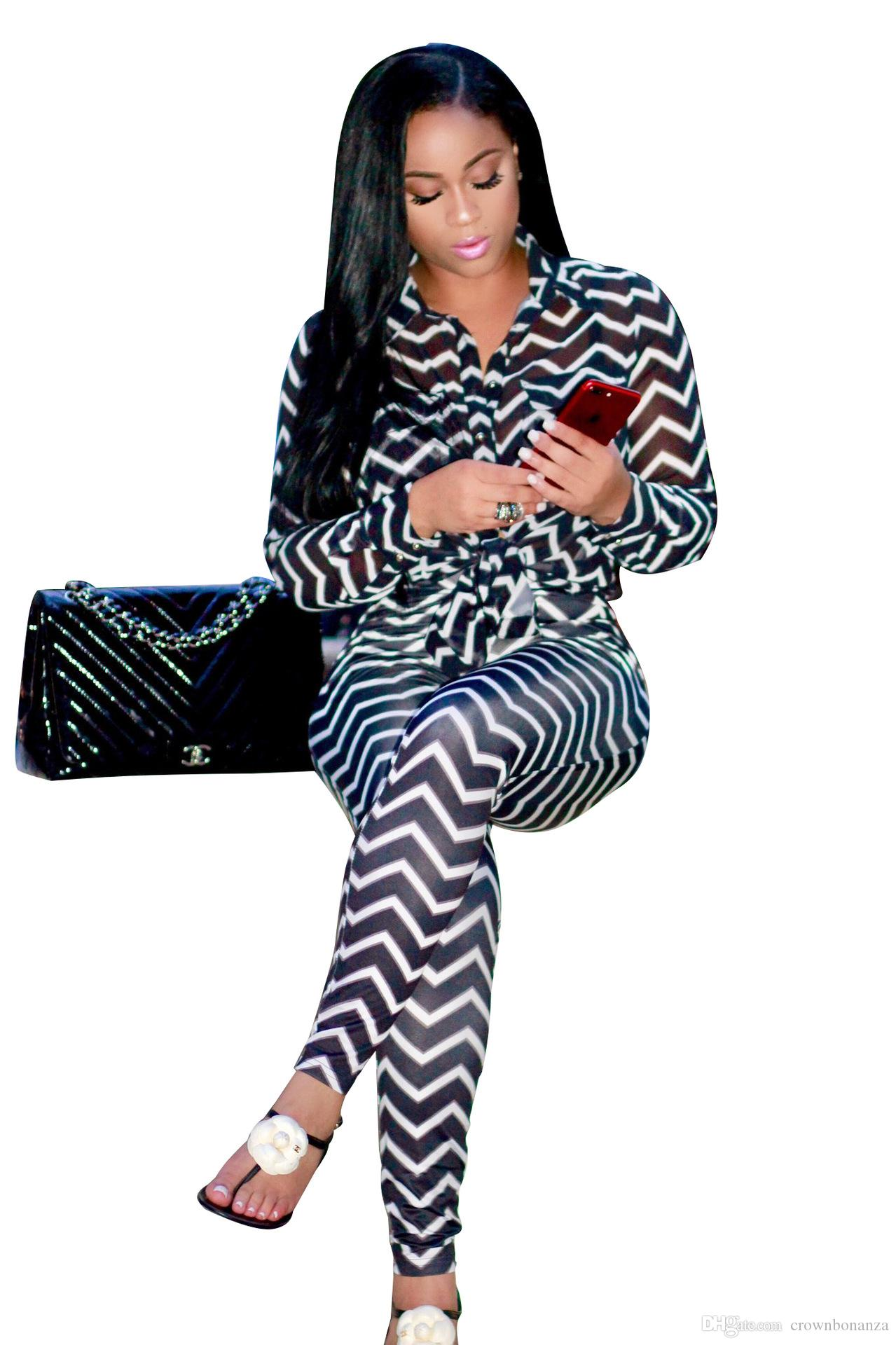 Elegant Jumpsuit Fashion Sexy Women Jumpsuits Leisure Wave Stripes Section Two Piece Pants Standard Code Full Sleeve Overalls