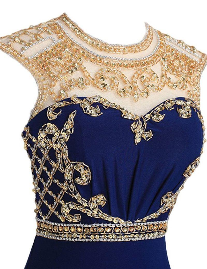 New Arrivals Royal Blue Chiffon Long Prom Dresses 2017 Vestidos Para Formatura Longo Sexy Side Slit Women Formal Dresses