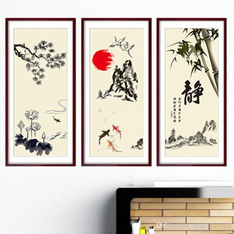 Chinese Element Mountain Pool Fish Bamboo Flying Birds Lotus Wall Stickers Home Decor Fake Frame Wallpaper Poster Art Decals Hanging Graphic