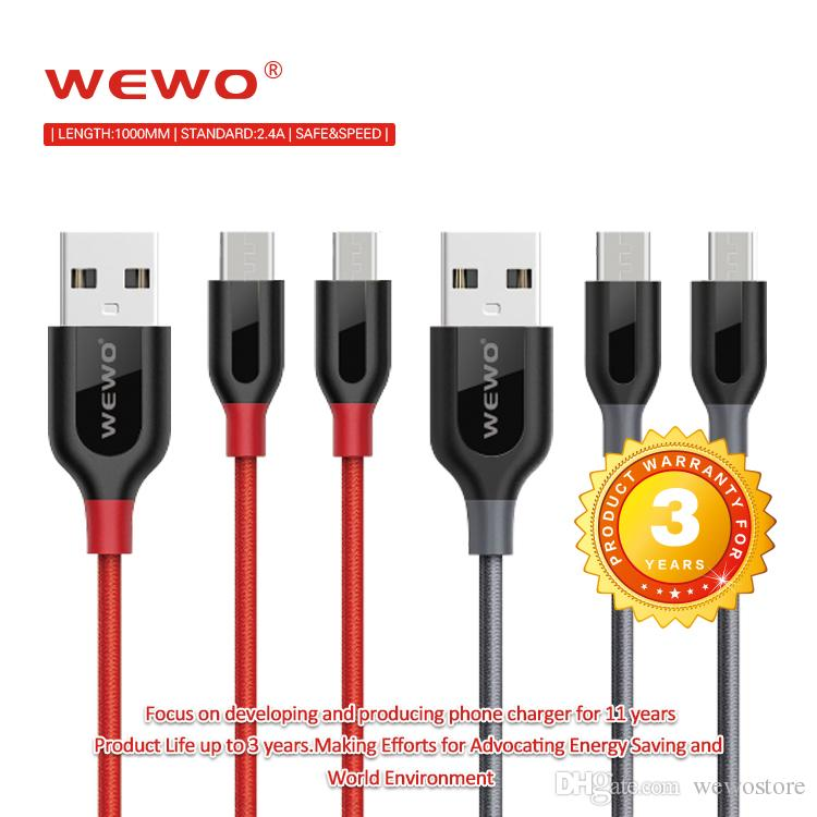Safe Charging Micro USB Cables Cell Phone Cable USB 2.4A output weave Type C cables With Ce certificate Data Line For phone