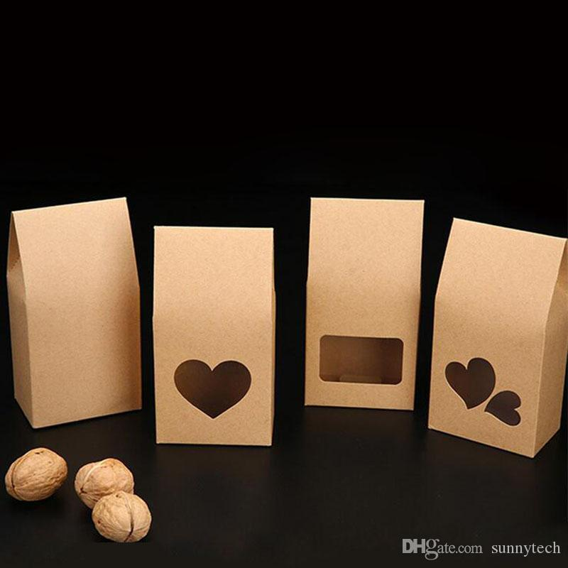16 * 8 cm Galletas Nueces bolsas de embalaje de regalo Stand Up Kraft cajas de papel con forma de corazón ventana clara bolsillo ZA4018