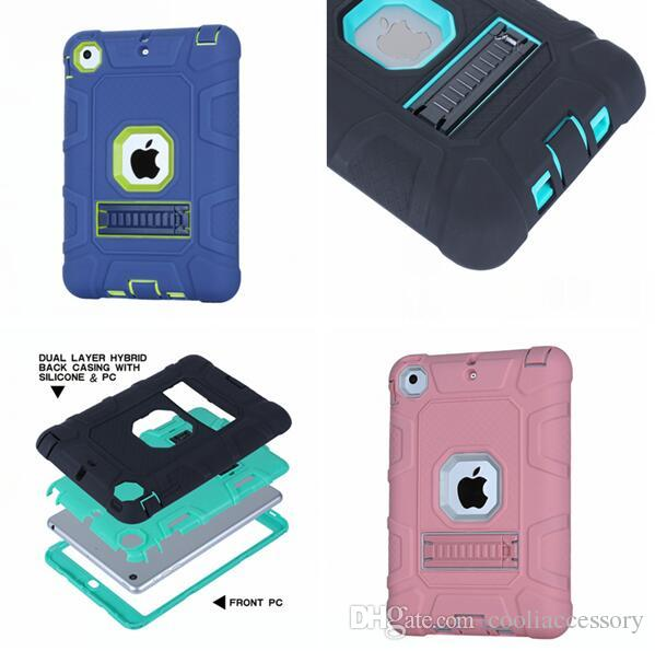 Hybrid Armor Tyre Tire Stand Shockproof tablet Hard Case For Ipad Mini 1 2 Silicon gel Camo Ballistic Defender Rugged Cover Skin Luxury