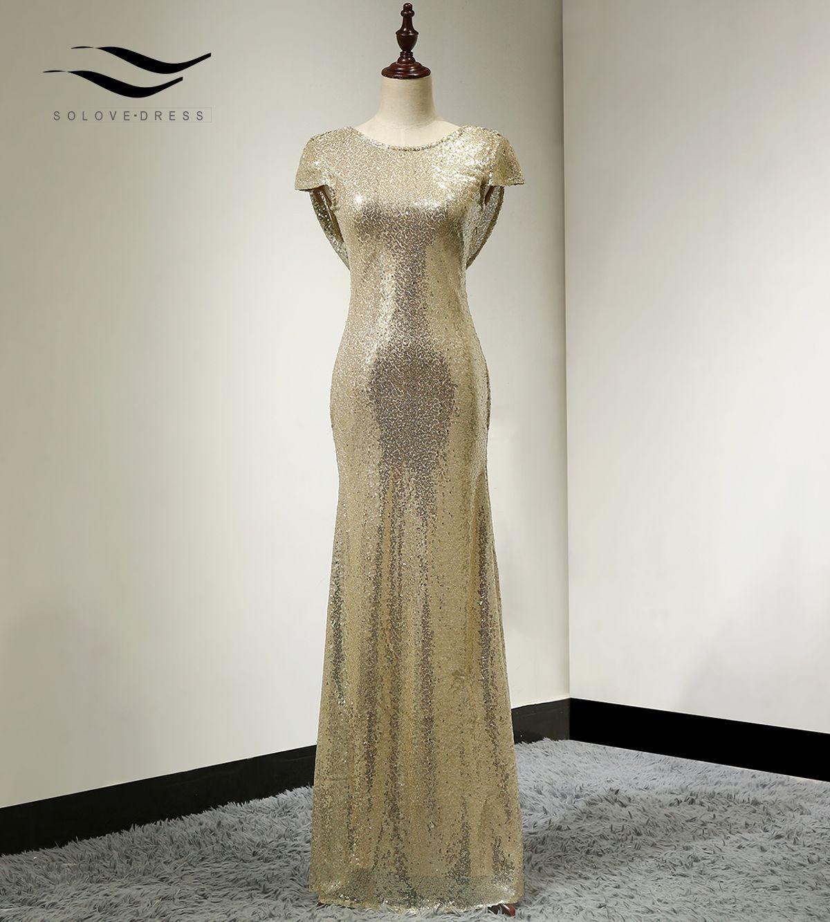 Solovedress 2020 New Mermaid Pailletten-Kappen-Hülsen-formales Abendkleid Realer formaler vestido de dama de honra