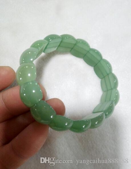 شحن مجاني جديد الموضة سوار اليشم الأخضر الصينية الكلاسيكية أساور مجوهرات 100٪ الحجر الطبيعي اليشم