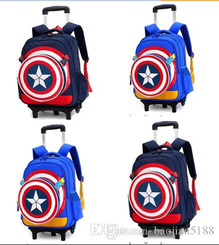 10fe5a980a Captain America Two Wheels Rolling Bag Children Children Backpack Vacuum  Bag Pull Rod Box Bookbag Toddler Backpack From Baojian5188