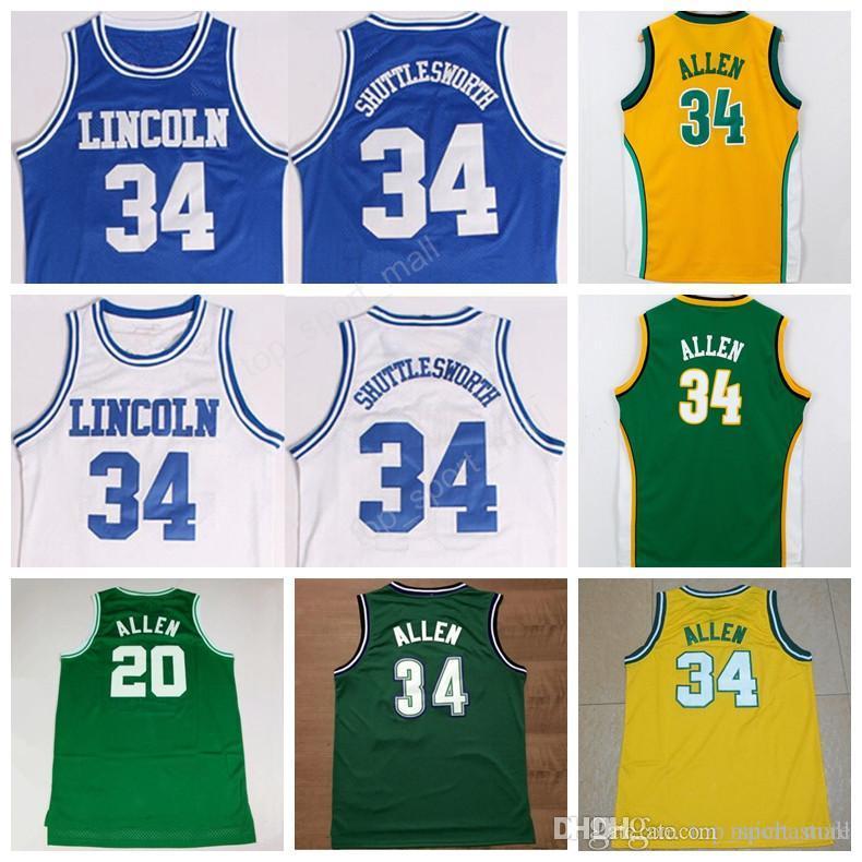 e1bfa86a3 ... 2017 Men Basketball 20 Ray Allen Jersey Throwback Lincoln College 34  Jesus Shuttlesworth Jerseys Blue White NBA Boston Celtics ...