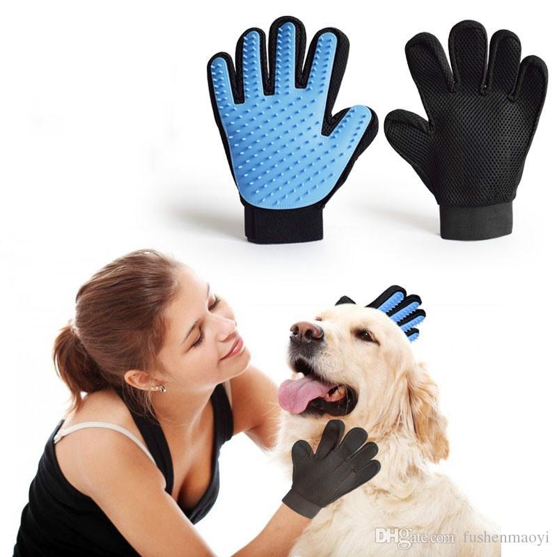 Toilettage pour animaux domestiques Chien chat Bain de massage gants propres Maille 3D Gants TPR Brosse 5 couleurs avec boîte au détail