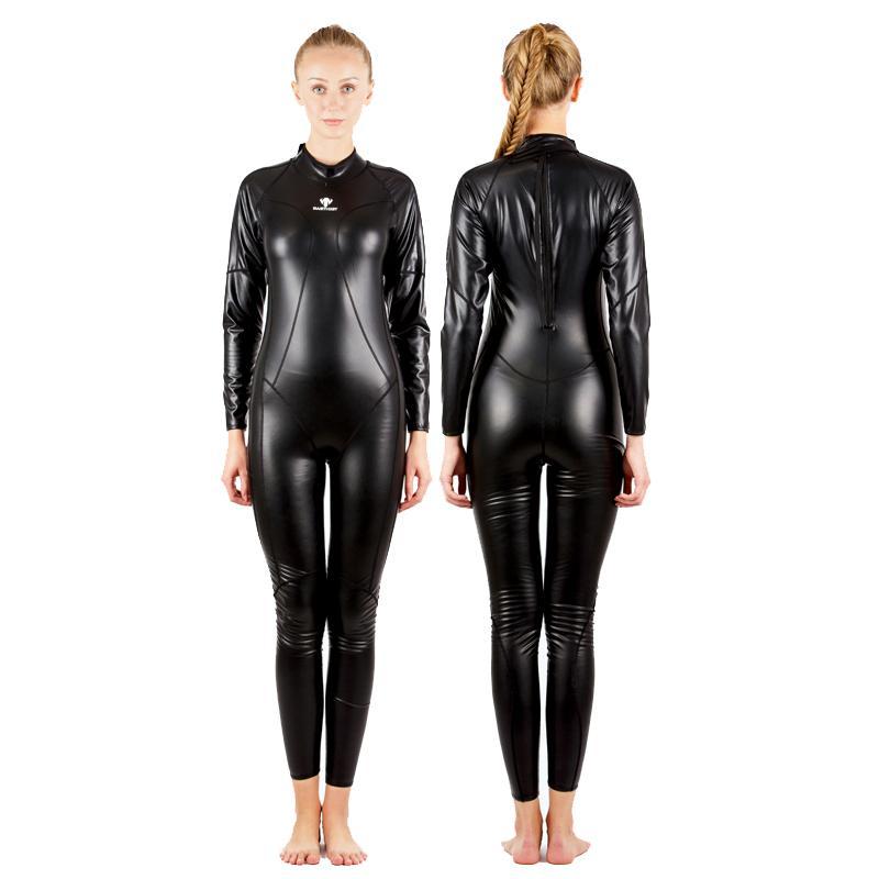 HXBY Full Body PU Impermeable Trajes de una pieza Traje de baño Mujeres Hombres Arena de manga larga Competitivo Traje de baño de natación Cálido Body