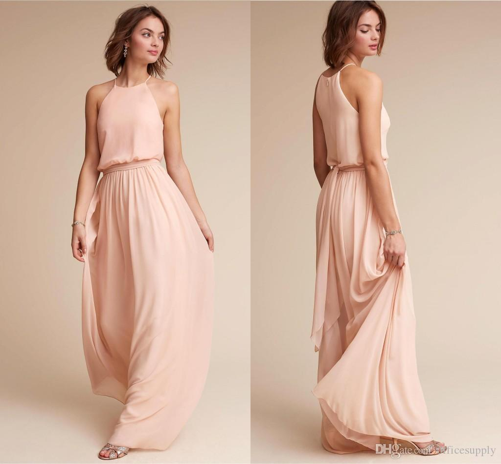 Vintage Blush Pink Chiffon Bridesmaid Dresses 2018 Halter Zipper ...