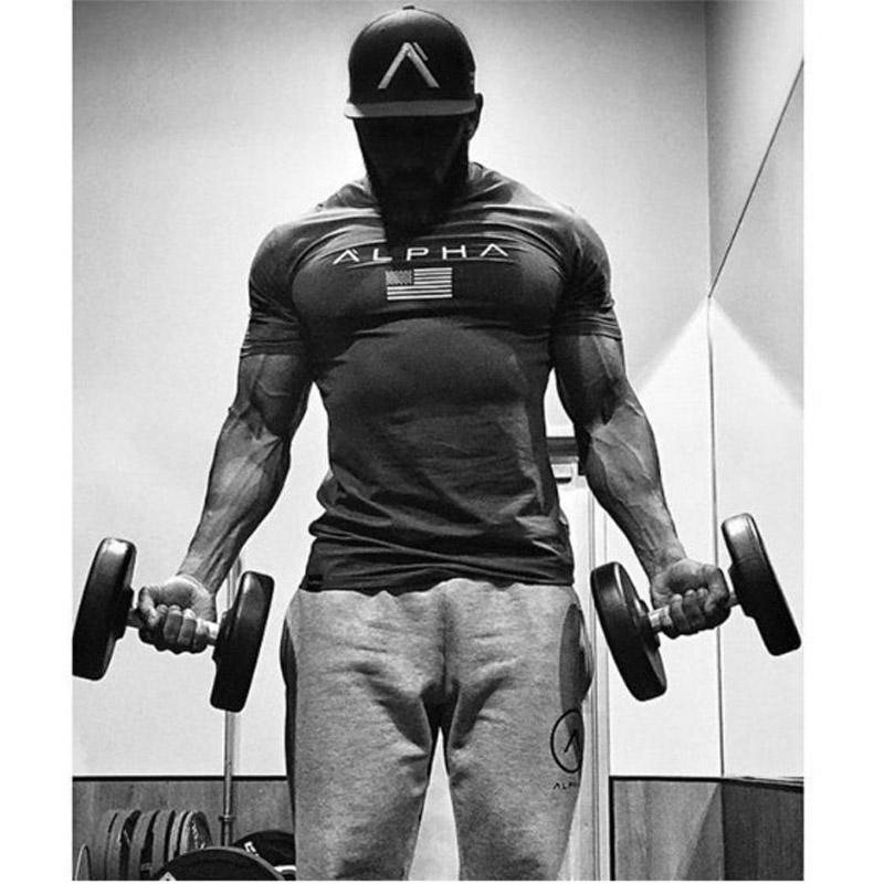 Crew Neck Letter print tracksuit t shirt muscle shirt Trends fitness cotton brand clothes for men bodybuilding Tee large size